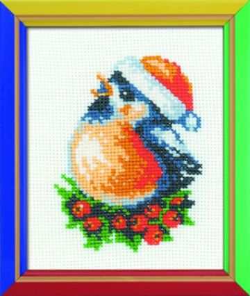 Riolis Cross Stitch Kit. BULLFINCH. Suitable for kids or beginners.